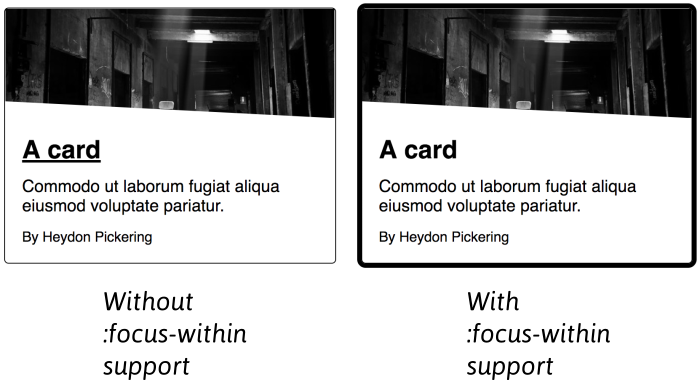 The left card shows the fallback text decoration focus state. The right card shows the focus-within style to match the hover style