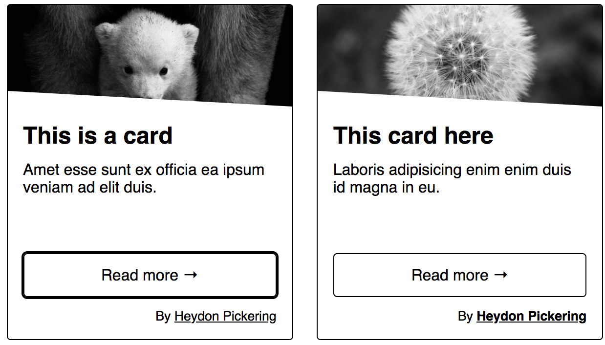 The left card shows to call to action focus style and the right card shows the author link focus style